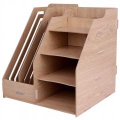 得力组合多功能文件框 木质文件栏 桌面收纳框整理框 资料架 257*240*225mm