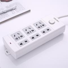 得力18210防触电拖线板6孔安全插座插线板接线板排插电插板 白色 3+3插孔,5米线长