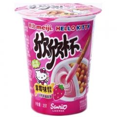 meiji明治 欣欣杯酱条饼干6味婴儿童休闲零食 果酱饼干条 25g*6杯装 草莓味