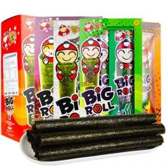 泰国进口零食 老板仔海苔卷盒装 经典香脆紫菜 零食大礼包 27g*3盒 原味