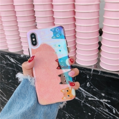 iphone 8plus蓝光手机壳 苹果x可爱6s女款7p少女保护套蓝光mid 粉色猫咪 iphon