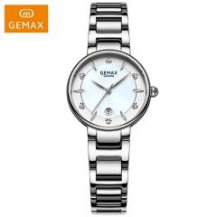GEMAX/格玛仕 正品防水石英手表 女款时尚品牌精钢腕表 MX2226 白钢银 时尚