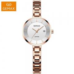 GEMAX/格玛仕 正品防水石英手表 女款时尚品牌精钢腕表MX8138 玫瑰金 日历