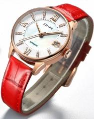 GEMAX/格玛仕 正品防水自动机械手表 女款时尚品牌腕表 玫壳红带 指针