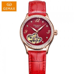 GEMAX/格玛仕 正品防水自动机械手表 女款时尚品牌腕表MX8009 红盘红带 透视窗,夜光