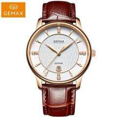 GEMAX/格玛仕 正品防水石英手表 情侣时尚品牌超薄腕表MX8122 男士玫壳啡皮 指针