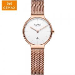 GEMAX/格玛仕 正品防水石英手表 女款时尚品牌精钢腕表MX8159 玫金白面 时尚