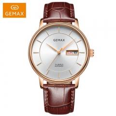 GEMAX/格玛仕 正品防水自动机械手表 情侣时尚品牌腕表 MX8132 男士玫壳啡带 指针