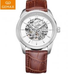 GEMAX/格玛仕 正品防水自动机械手表 男士时尚品牌腕表 男士玫壳啡带 指针