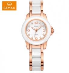 GEMAX/格玛仕 正品防水石英手表 女款时尚品牌陶瓷腕表 玫瑰金 时尚