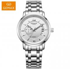 GEMAX/格玛仕 正品防水自动机械手表 男士时尚品牌腕表 白盘 时尚