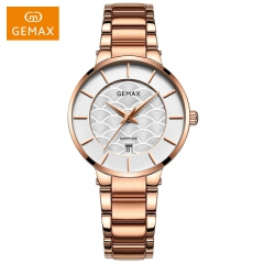 GEMAX/格玛仕 正品防水石英手表 女款时尚品牌精钢腕表 玫瑰金 时尚