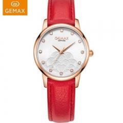 GEMAX/格玛仕 正品防水石英手表 女款时尚品牌超薄腕表 玫壳红带 石英