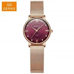 GEMAX/格玛仕 正品防水石英手表 女款时尚品牌精钢腕表 玫金紫 指针