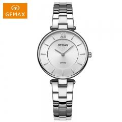 GEMAX/格玛仕 正品防水石英手表 女款时尚品牌精钢腕表 白钢银 精钢
