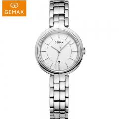 GEMAX/格玛仕 正品防水石英手表 女款时尚品牌精钢腕表 白钢银 时尚