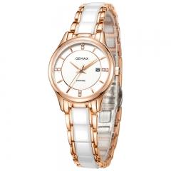 GEMAX/格玛仕 正品防水石英手表 女款时尚品牌陶瓷腕表 MX8104 玫瑰金 日历