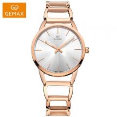 GEMAX/格玛仕 正品防水石英手表 女款时尚品牌精钢腕表 玫瑰金 夜光