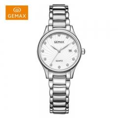 GEMAX/格玛仕 正品防水石英手表 女款时尚品牌精钢腕表 白钢银 防水