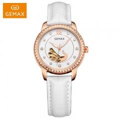 GEMAX/格玛仕 正品防水自动机械手表 女款时尚品牌镂空腕表 白盘白带 指针