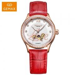 GEMAX/格玛仕 正品防水自动机械手表 女款时尚品牌腕表 玫壳红带 不锈钢
