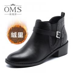 短靴女新款冬季新款圆头中跟粗跟女靴欧美复古时尚马丁靴 黑色 34