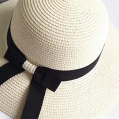 草帽子女夏天韩版小清新百搭防晒遮阳帽可折叠大沿海边度假沙滩帽 米色 草编