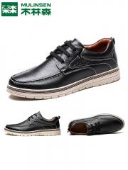 木林森皮鞋男韩版棉鞋真皮鞋子男士休闲皮鞋冬男鞋加绒 黑色 38