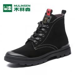 木林森男鞋冬季新款马丁靴男韩版百搭加绒保暖高帮鞋短靴 黑色 38