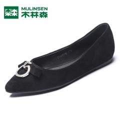 木林森女鞋秋季新款浅口尖头单鞋女平底鞋韩版简约舒适低跟鞋 黑色 35