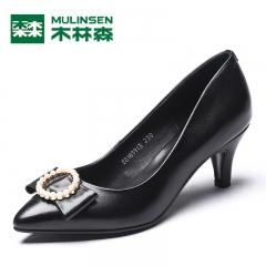 木林森细跟浅口女鞋 秋季韩版时尚单鞋女气质尖头优雅高跟鞋 黑色 35