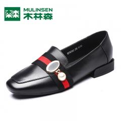 木林森浅口单鞋女 秋季新款圆头低跟英伦金属扣乐福鞋女鞋子 黑色 35