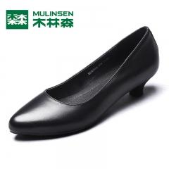 木林森中低跟单鞋女尖头粗跟3cm高跟鞋春 新款黑色职业工作鞋 黑色 35