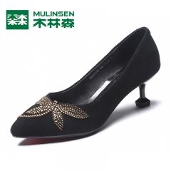 木林森女鞋秋季酒杯底镶花羊浅口女高跟鞋羊反绒细跟时尚套脚鞋 黑色 35