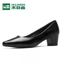 木林森女鞋秋季新款浅口单鞋女真皮尖头中跟鞋小皮鞋粗跟纯色 黑色 35