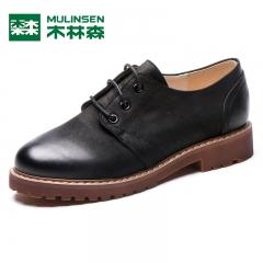 木林森粗跟单鞋女秋季新款真皮女鞋英伦风系带深口小皮鞋女 黑色 35