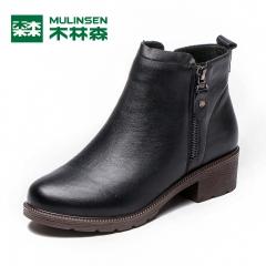 木林森靴子女短靴时尚真皮女靴秋季单靴中跟粗跟裸靴及踝靴 黑色 35