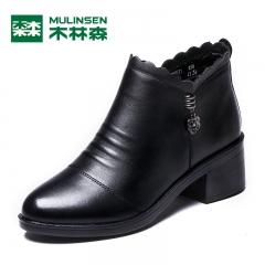 木林森靴子女短靴时尚真皮女靴秋季新款中跟粗跟裸靴及踝靴 黑色 35