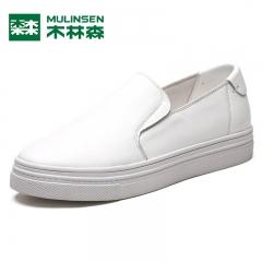 木林森女鞋秋季韩版时尚真皮休闲鞋板鞋平底小白鞋女一脚蹬懒人鞋 白色 36