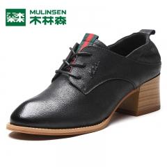 木林森女鞋秋季新款韩版真皮透气高跟系带女士单鞋休闲小皮鞋 黑色 35
