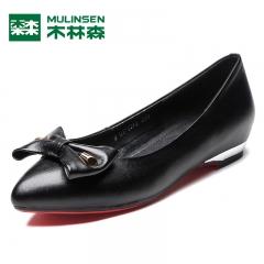 木林森女鞋秋季新款时尚真皮浅口女士单鞋舒适百搭低跟女鞋休闲鞋 黑色 35
