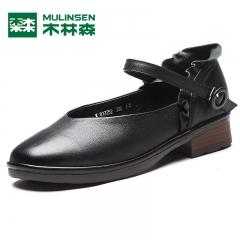木林森女鞋秋季新款女士一字式扣带浅口单鞋真皮花边玛丽珍鞋 黑色 35