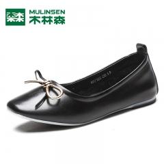 木林森女鞋秋季新品日系甜美风蝴蝶结小圆头平跟套脚女士单鞋 黑色 35