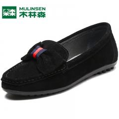 木林森女鞋冬季新款单鞋女百搭妈妈鞋套脚休闲鞋透气乐福鞋 黑色 35