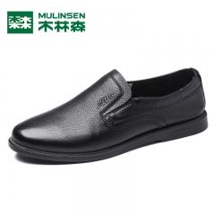 木林森男鞋秋季新款头层牛皮平跟舒适时尚套脚商务休闲鞋皮鞋 黑色 39
