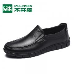 木林森男鞋秋冬新款真皮商务休闲皮鞋黑色男士软底套脚鞋子男 黑色 38