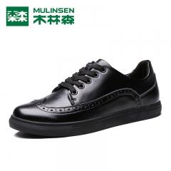 木林森小白鞋秋季新品青年男士韩版潮流真皮透气黑白休闲男士板鞋 黑色 38