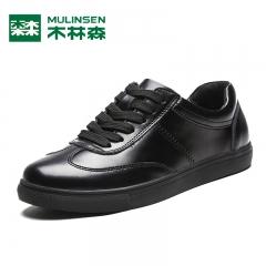 木林森男鞋秋季小白鞋男士休闲鞋皮鞋男运动板鞋黑色潮流鞋子 黑色 38