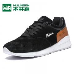 木林森男鞋男士冬季运动鞋新款潮流圆头系带跑步鞋拼色板鞋男 黑色 39