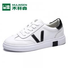 木林森单鞋女鞋秋季新款韩版潮流休闲小白鞋平底鞋女学生板鞋 黑色 35